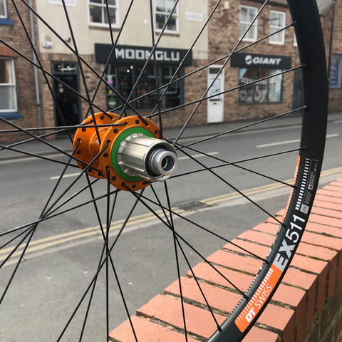 Orange Edition Hand built Hope Pro 4 BOOST hubs with DT Swiss EX511 rims - Moonglu