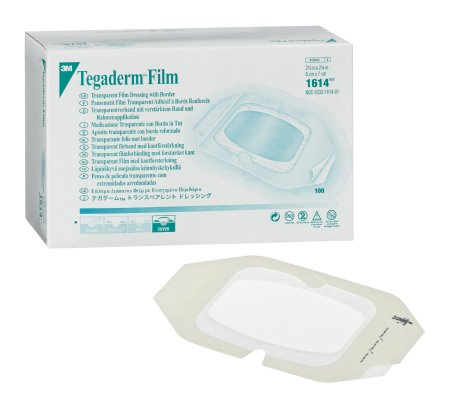 Transparent Film Dressing - 3M Tegaderm Rectangle 4 X 4-3/4 Inch Frame Style Delivery With Label Sterile
