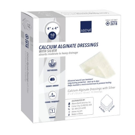Calcium Alginate Dressing - Calcium Alginate Dressing with Silver Abena 4 X 4 Inch Square Sterile