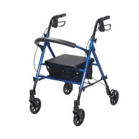 Walker - 4 Wheel Rollator Adjustable Height, Padded Seat