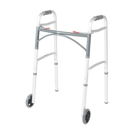 2 Wheel Walker - Folding Walker Adjustable Height McKesson Aluminum Frame 350 lbs. Weight Capacity 32 to 39 Inch Height