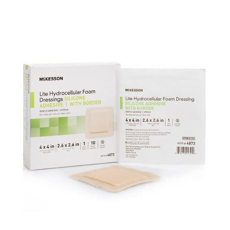 Foam Dressing - Thin Silicone Foam Dressing Silicone Gel Adhesive with Border, Sterile