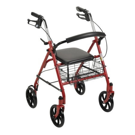 Walker - 4 wheel Rollator Steel Frame, Red