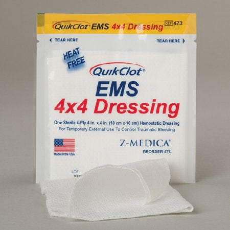 "Hemostatic Dressing - Hemostatic Dressing QuikClot, 4"" x 4"""