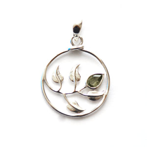 Silver Peridot Round Leaf Pendant