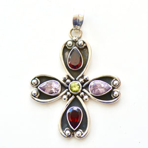 Bejeweled Floral Oxidised Silver Pendant