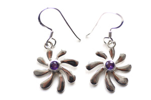Silver Amethyst Floral Earrings
