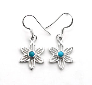 Silver Floral Turquoise Earrings