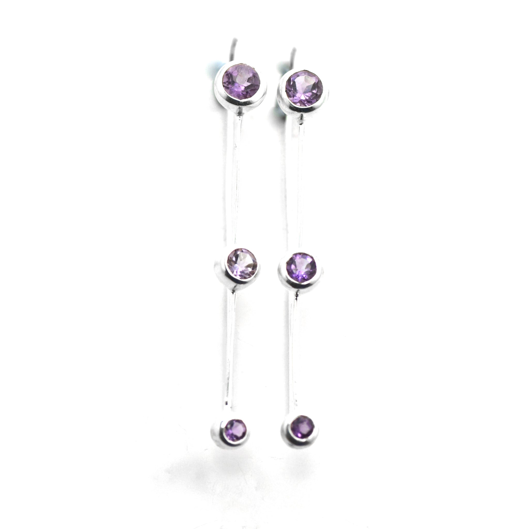 Amethyst Silver Thread Earrings