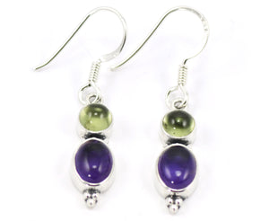 Peridot And Amethyst Drop Earrings