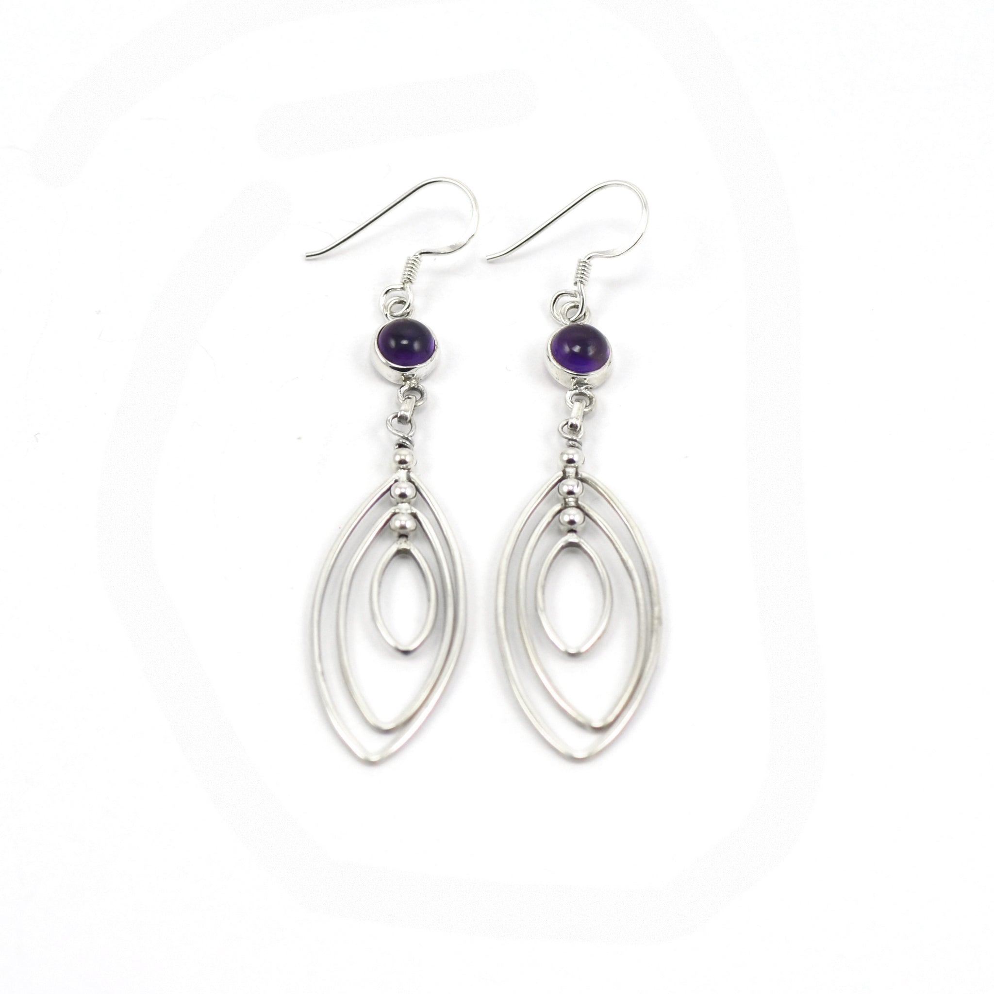 Multi-Leaf Amethyst Drop Earrings
