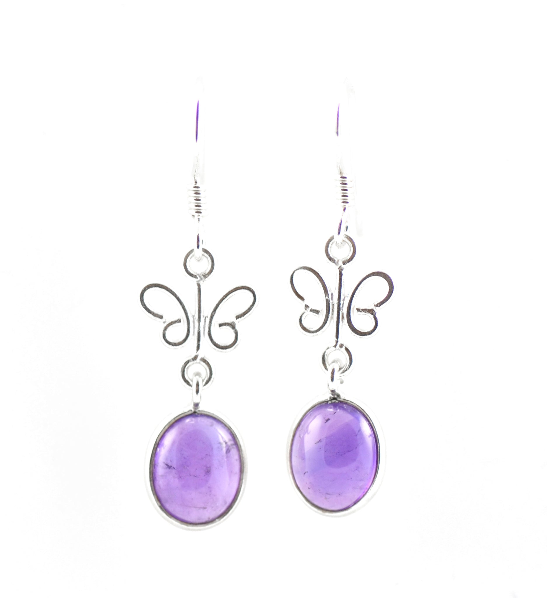 Oval Amethyst Butterfly Earrings