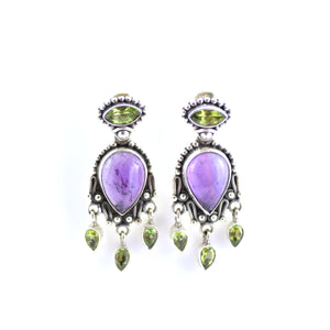 Silver Ornate Amethyst And Peridot Stud Earrings