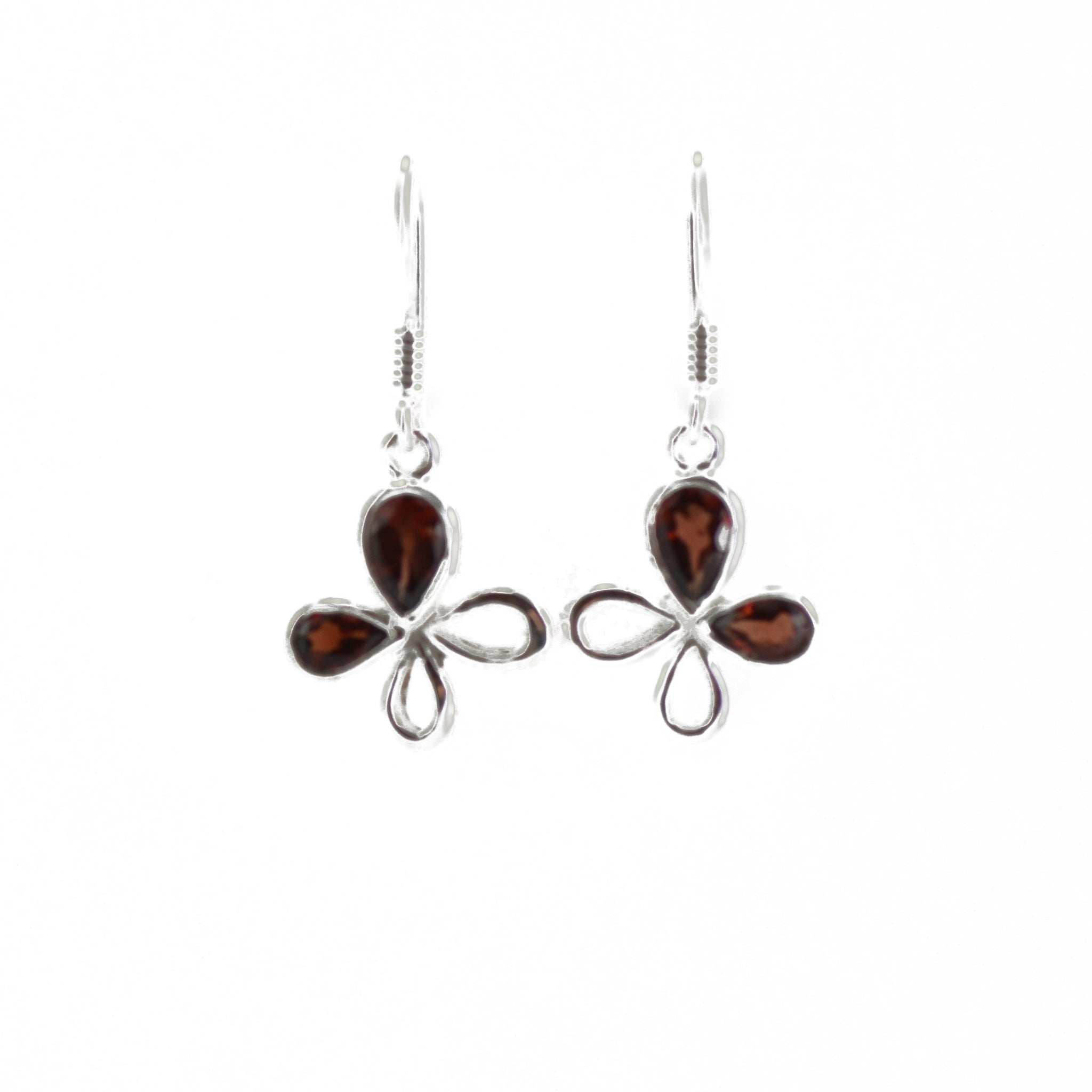 Symmetrically Half-Winged Garnet Silver Earrings