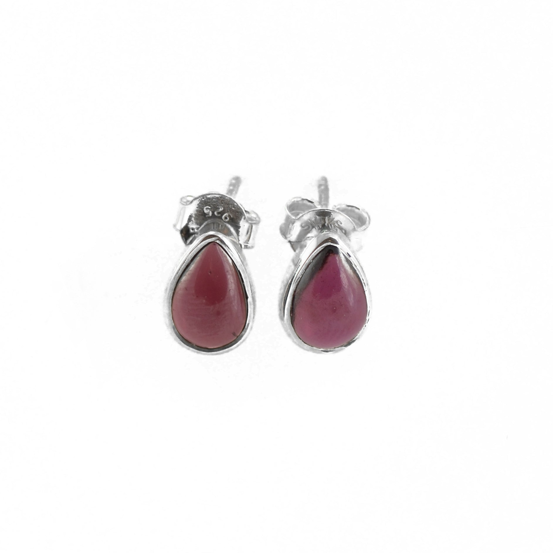 Teardrop Garnet Studded Silver Earrings