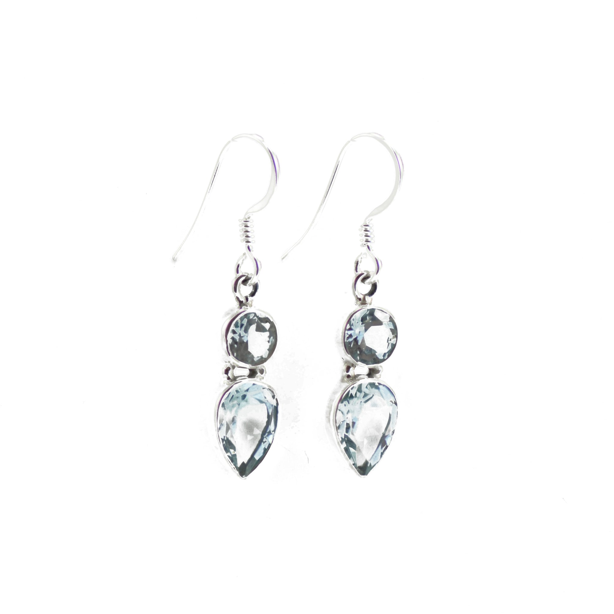 Lemniscate Blue Topaz Silver Dropped Earrings