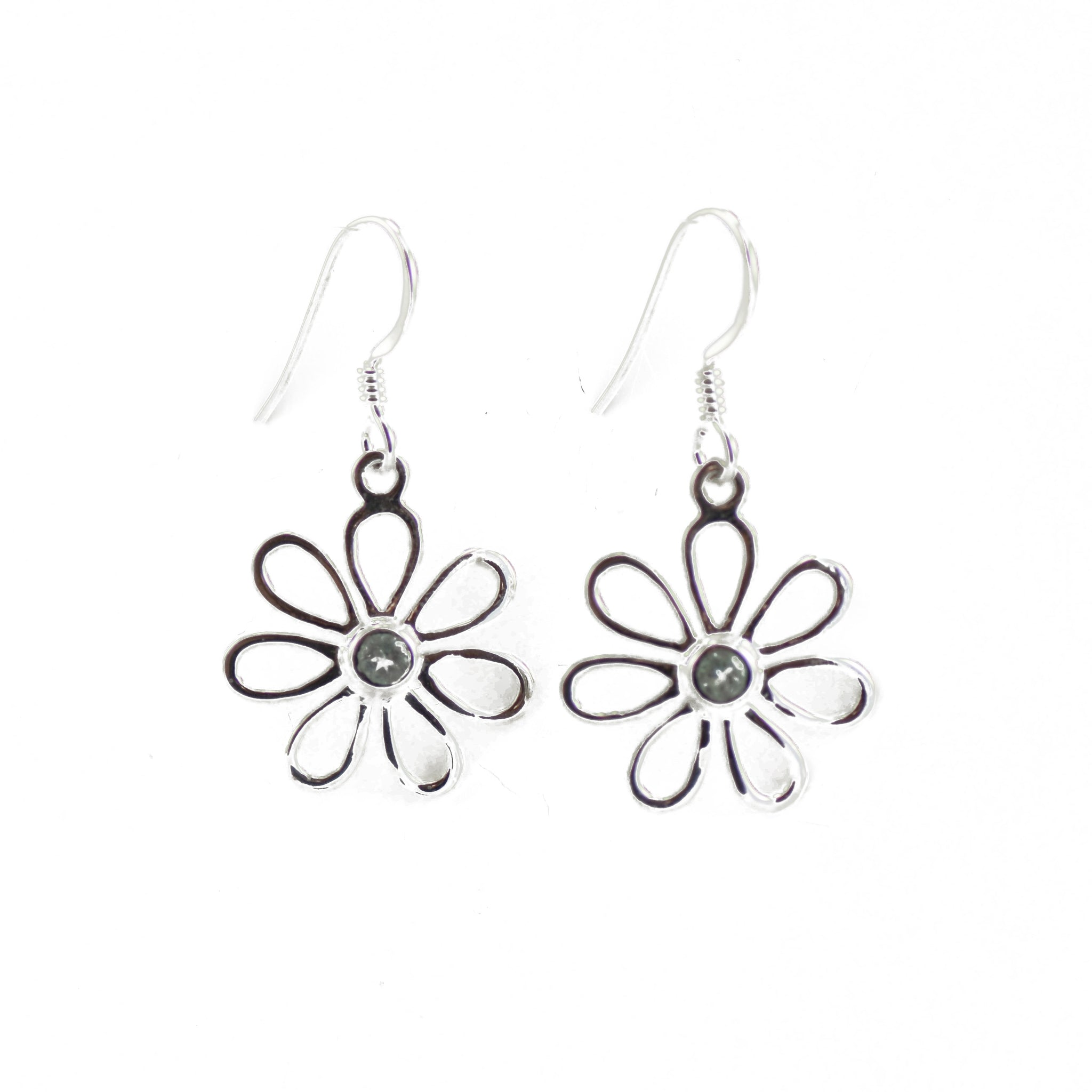 Silver Daisy Earrings With Blue Topaz Pistil