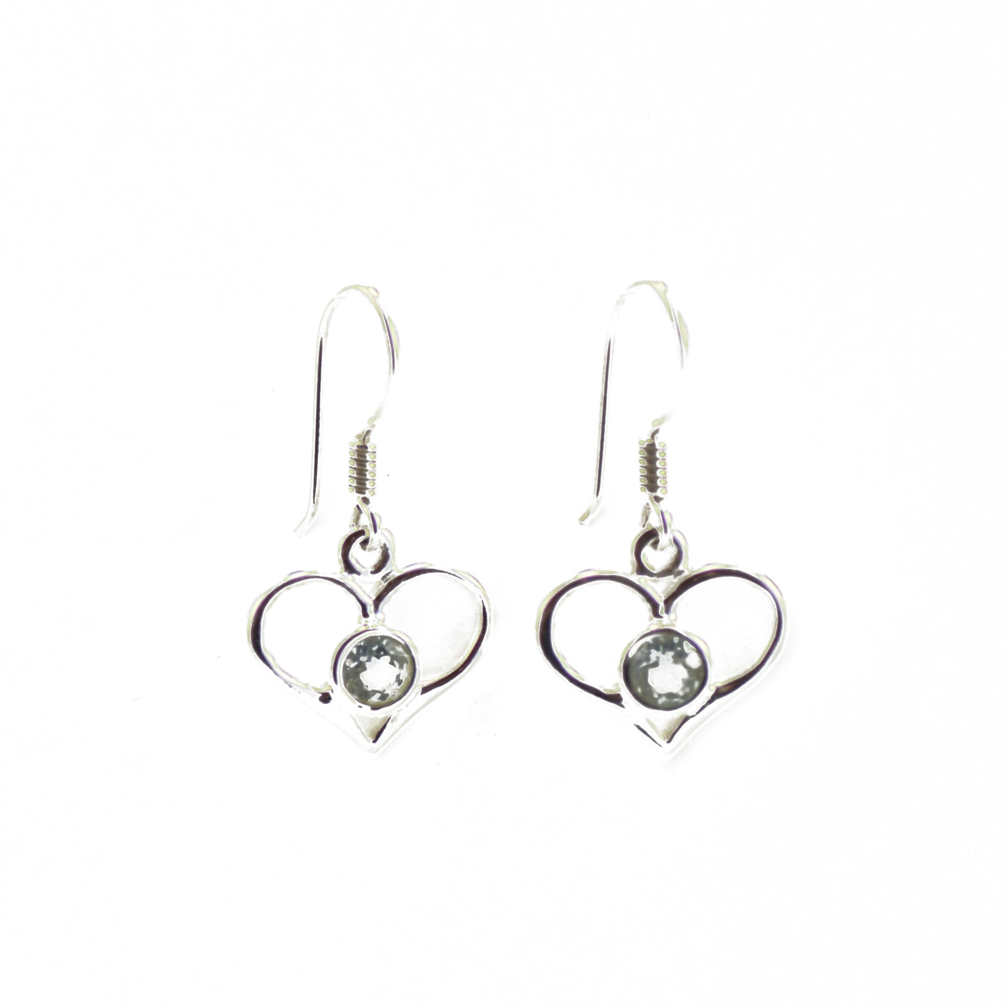 Blue Topaz  Heart Dropped Earrings