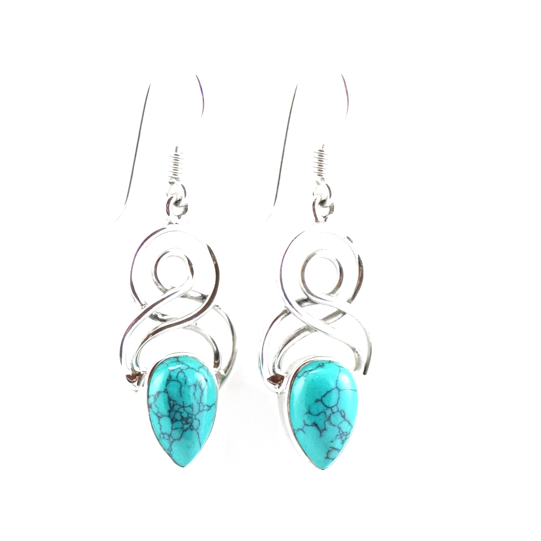 Double Eight Turquoise Teardrop Silver Earrings