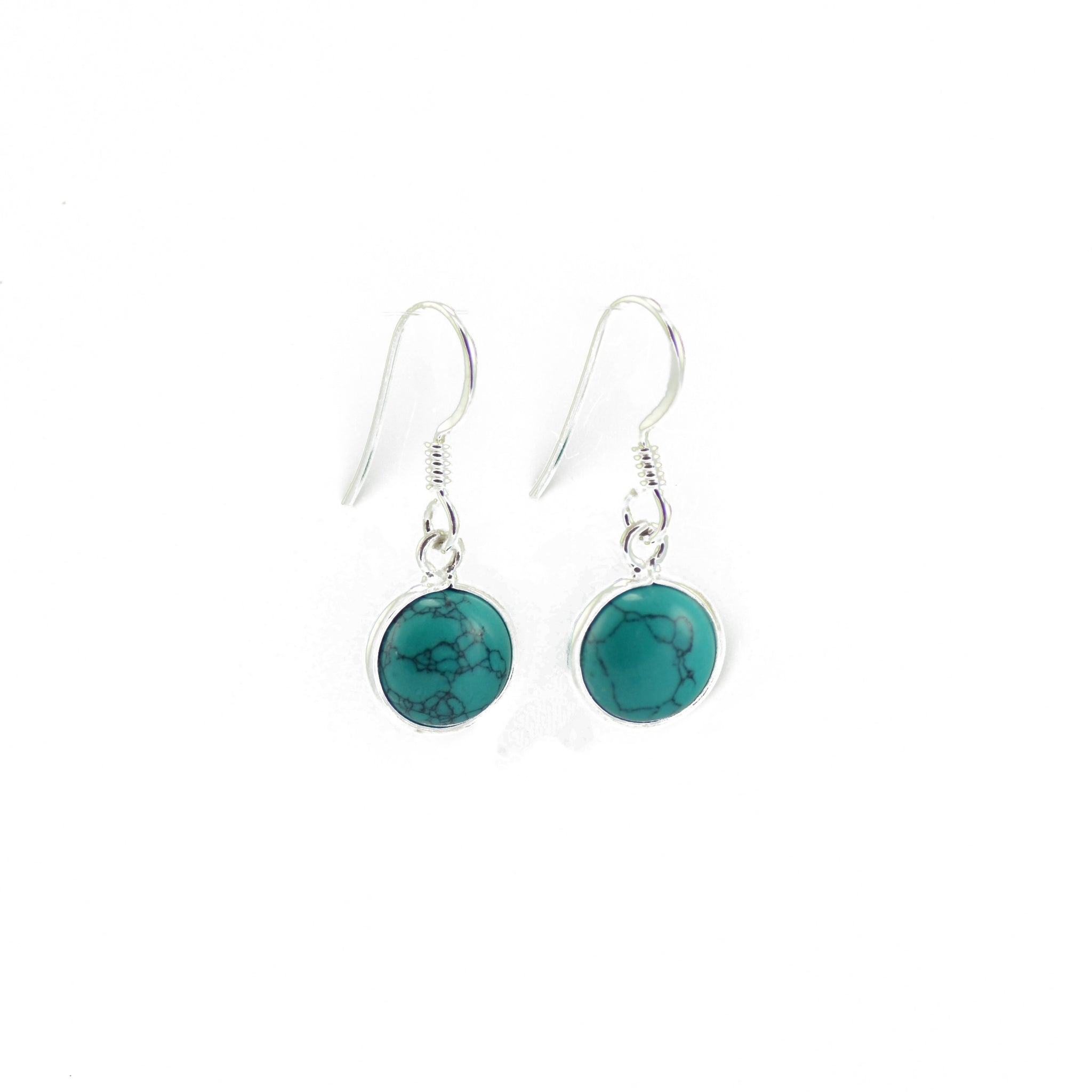Dainty Circular Drop Turquoise Earrings