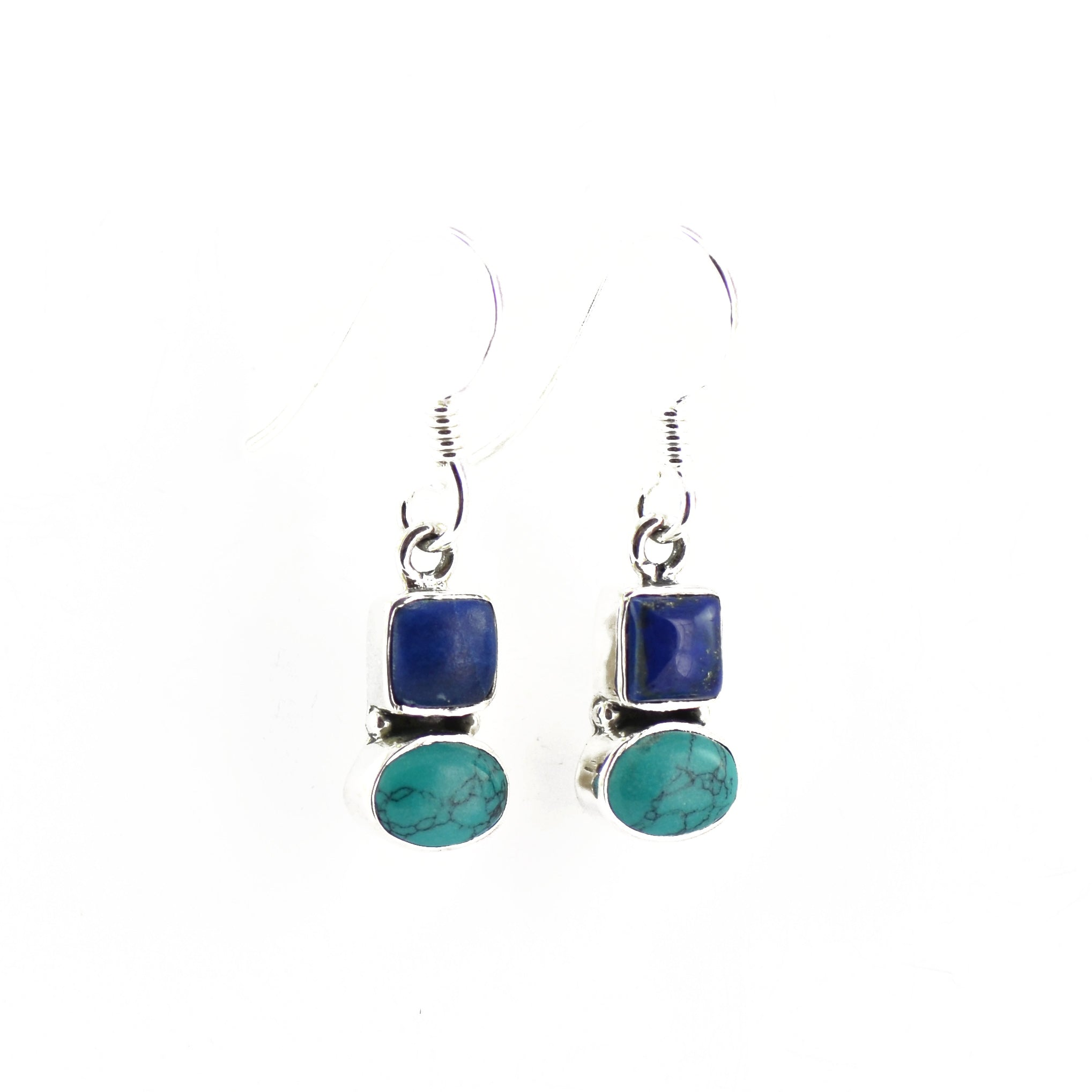 Silver and Turquoise Earrings with Lapis Lazuli Support