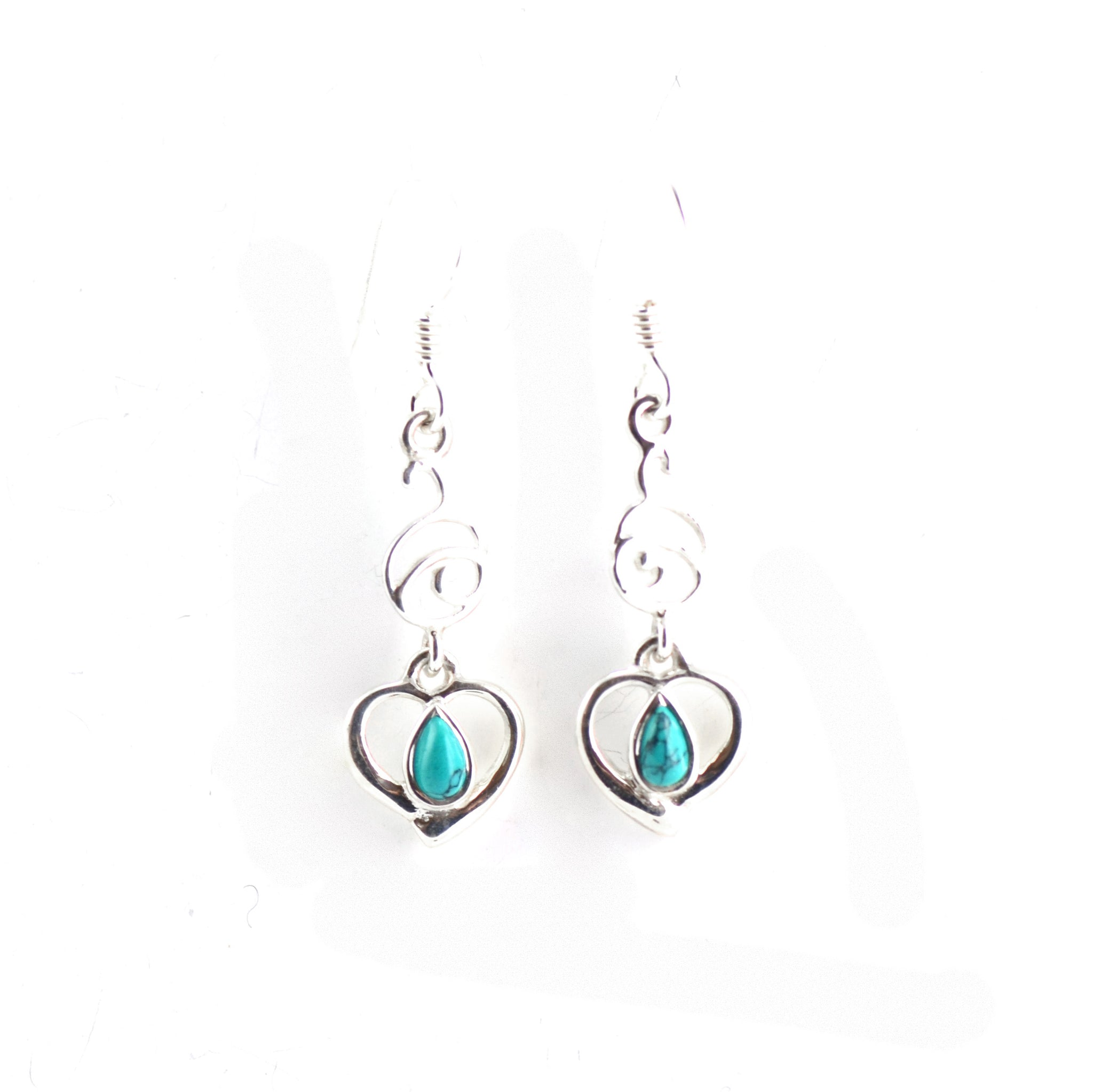 Turquoise Teardropped Silver Earrings