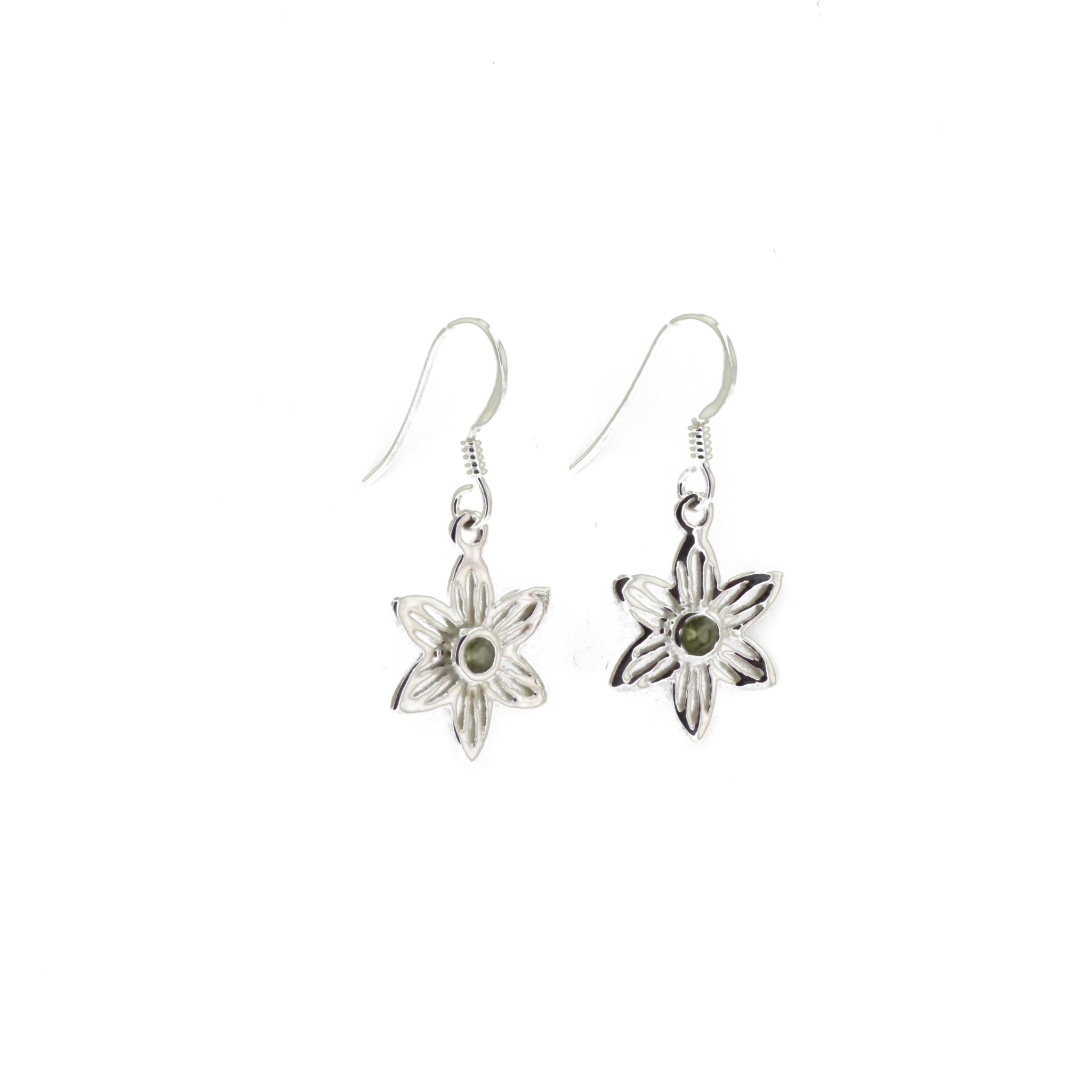 Silver Lily Earrings With Peridot Pistil