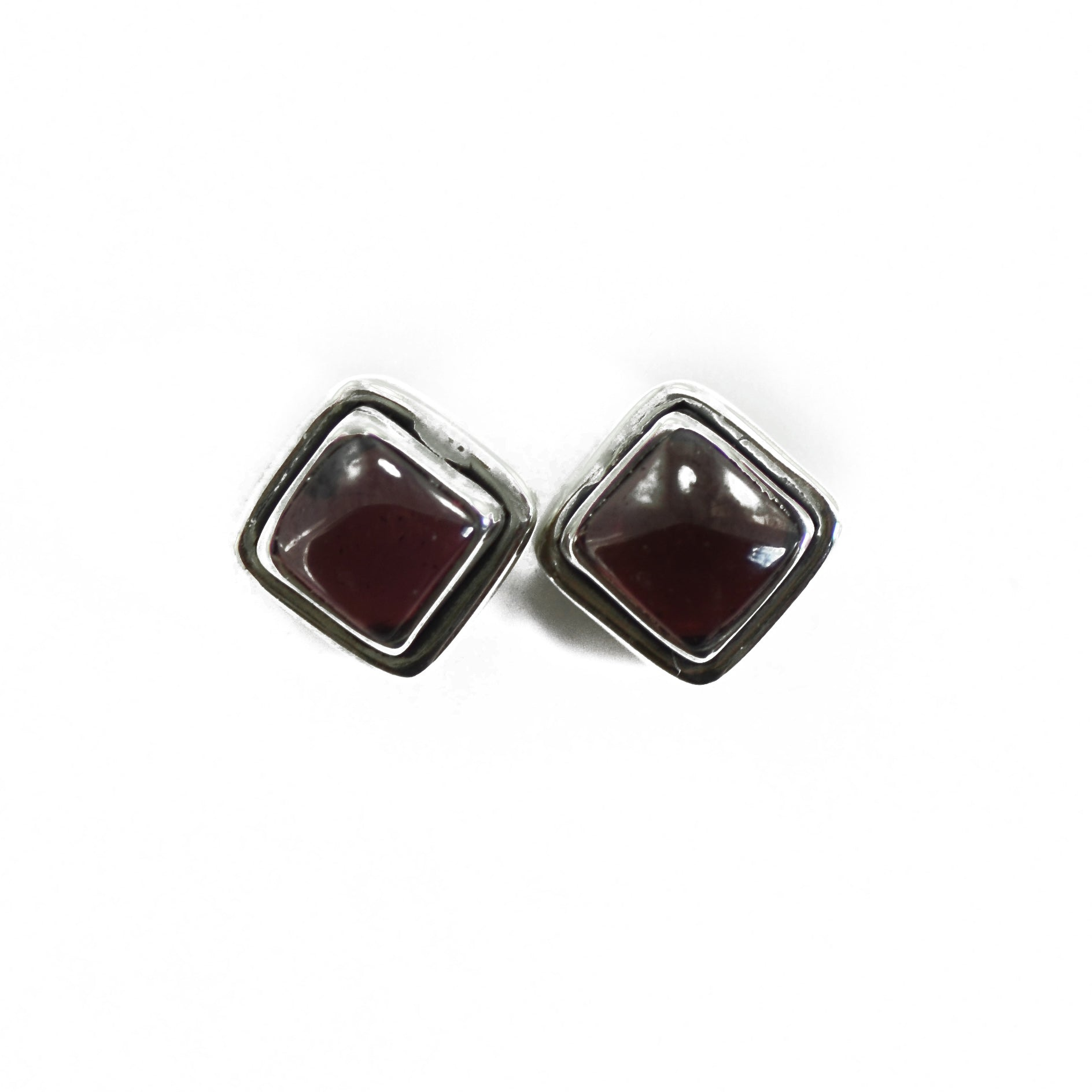 Dual Bordered Power Garnet Silver Earrings