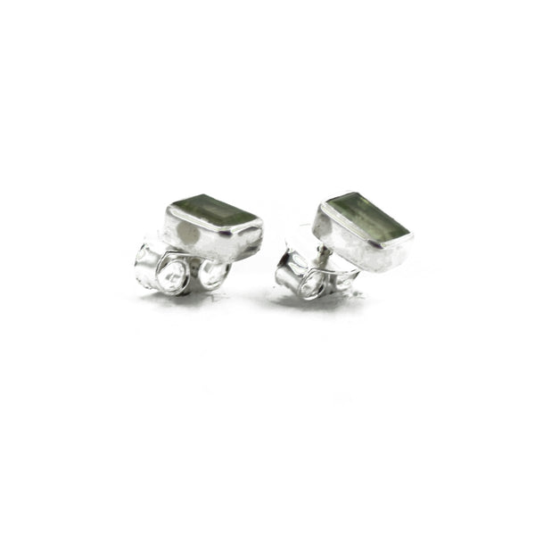 Peridot Shield Silver Stud Earrings