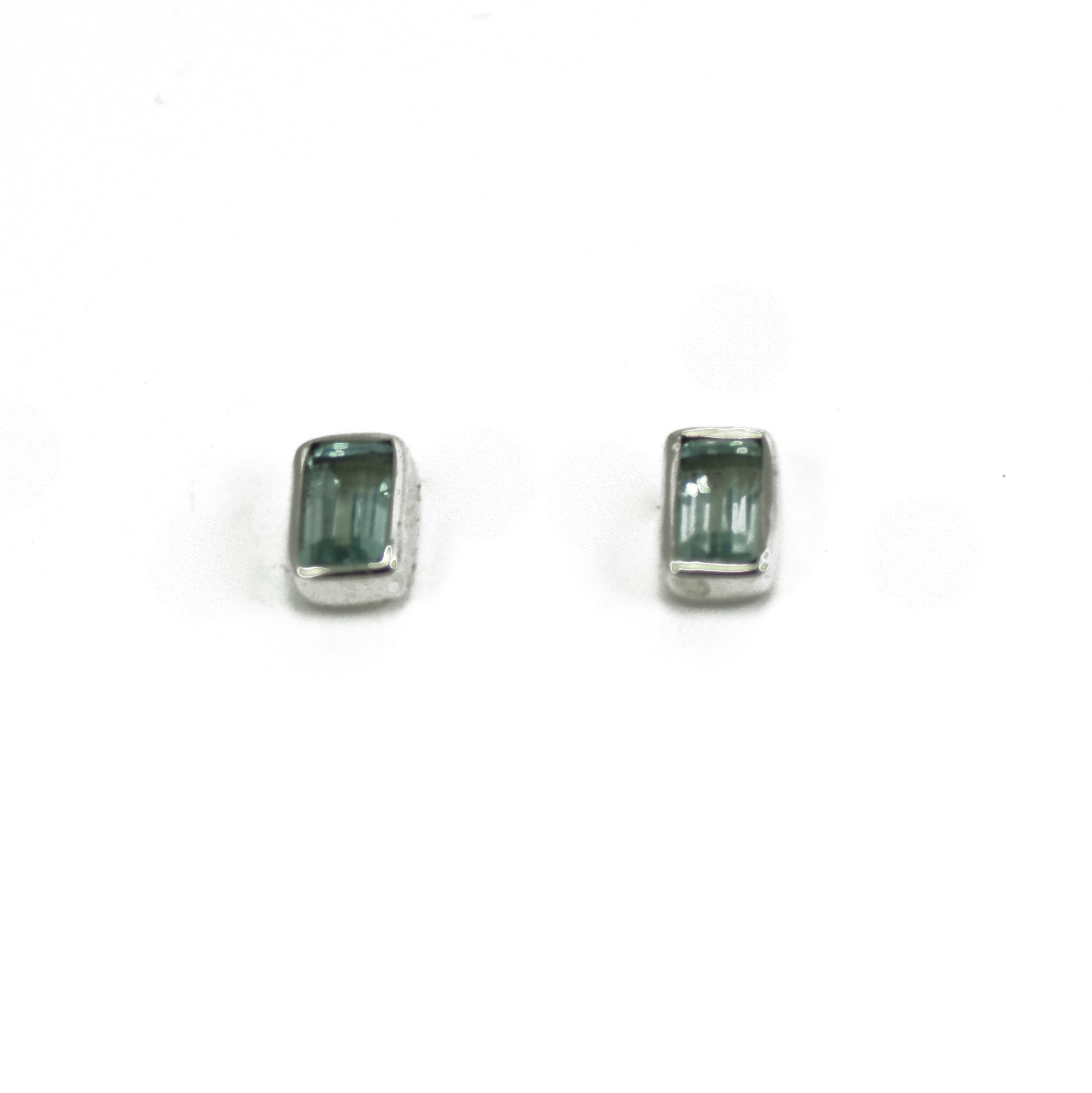 Blue Topaz Silver Shield Stud Earrings