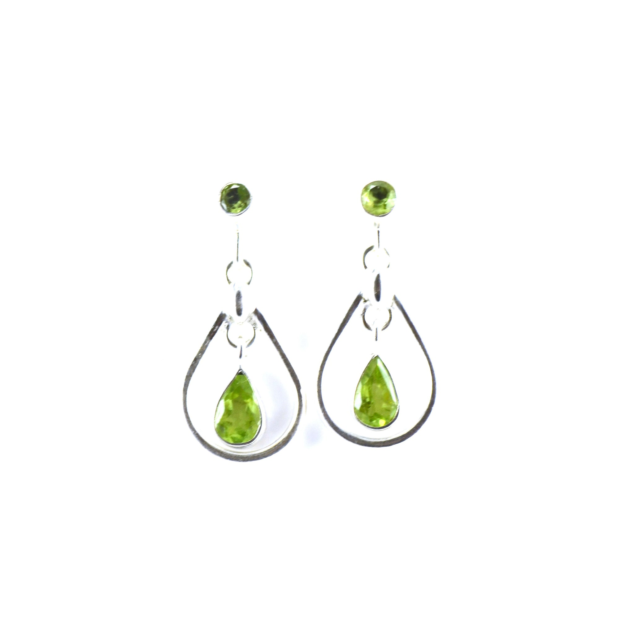 Dual Peridot Teardrop Silver Earrings