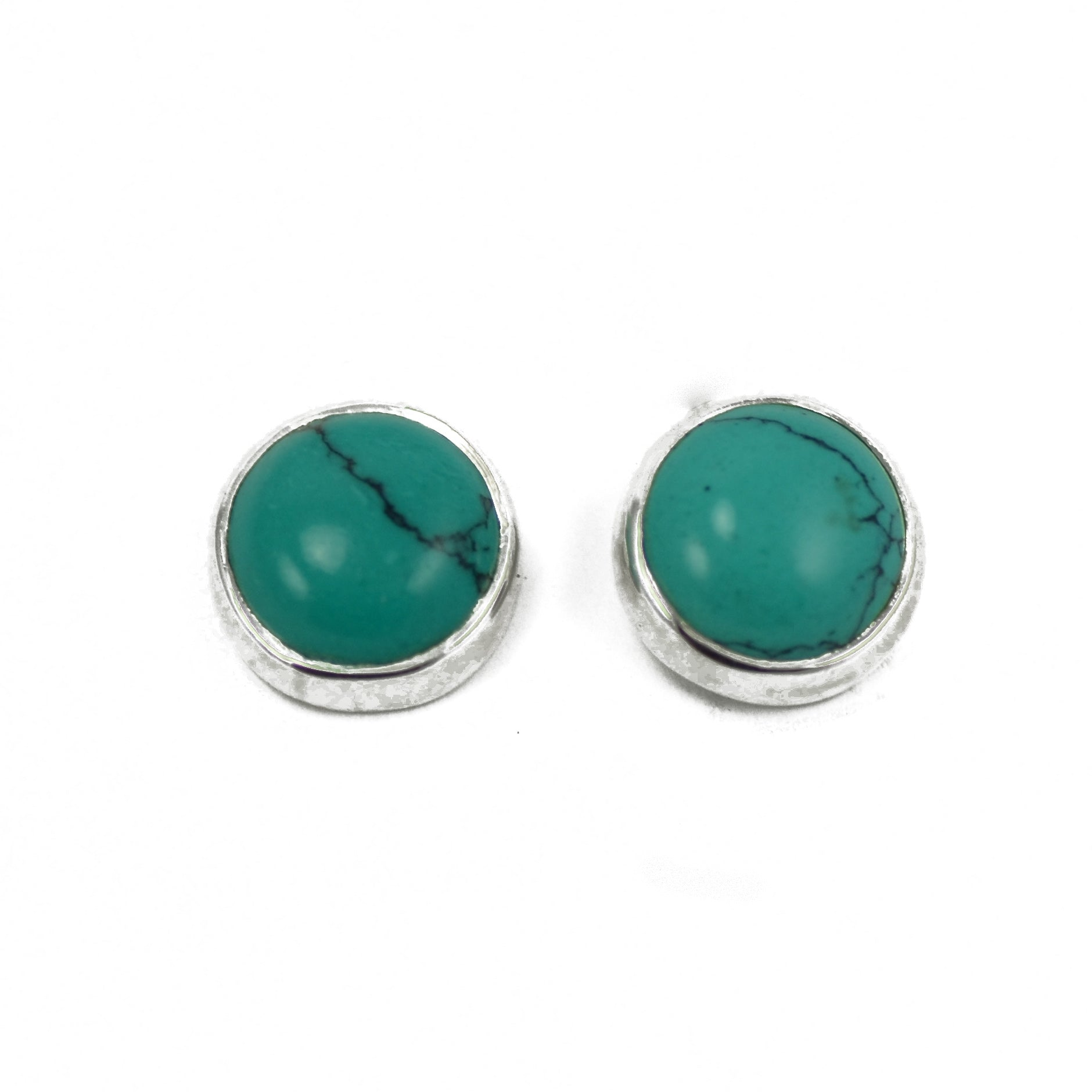 Turquoise Volcano Silver Stud Earrings