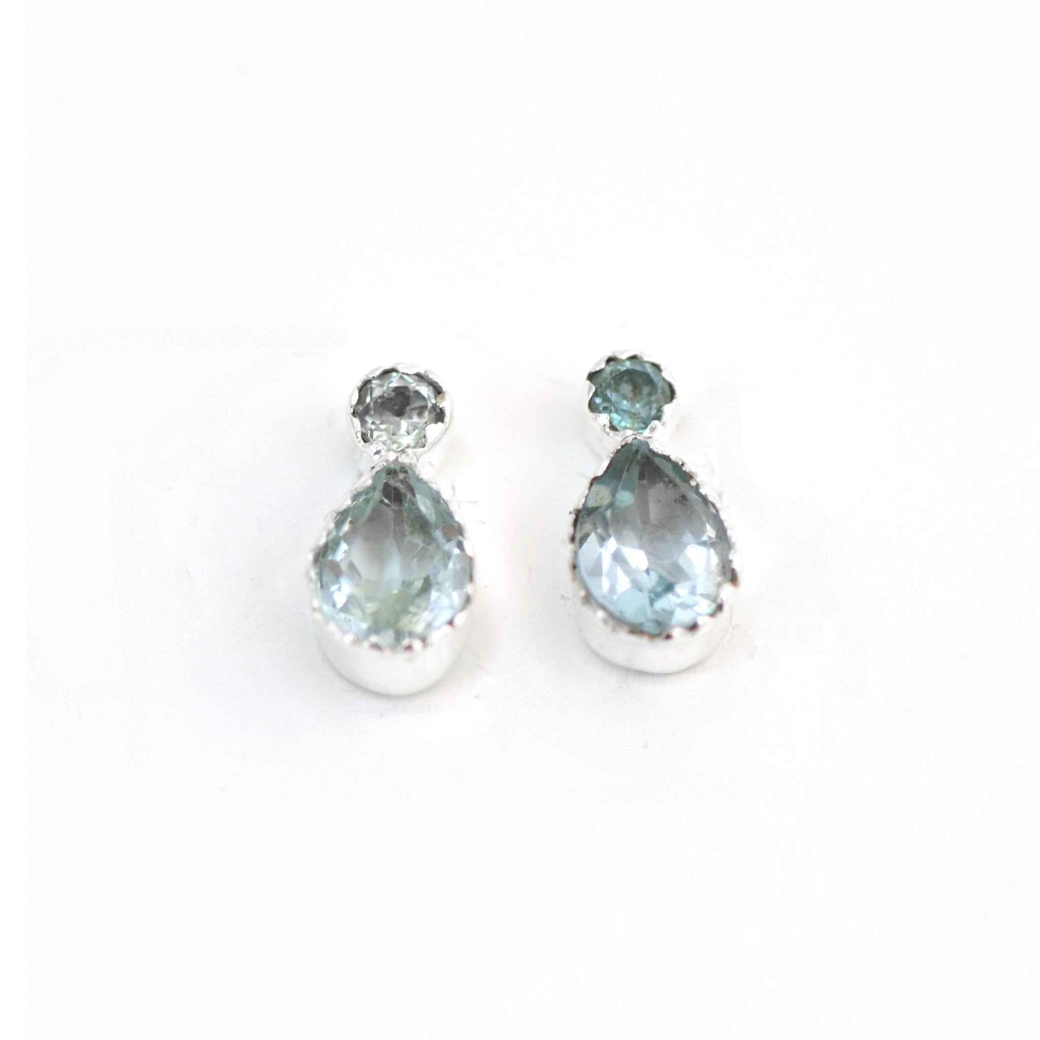 Lemniscate Blue Topaz Silver Stud Earrings