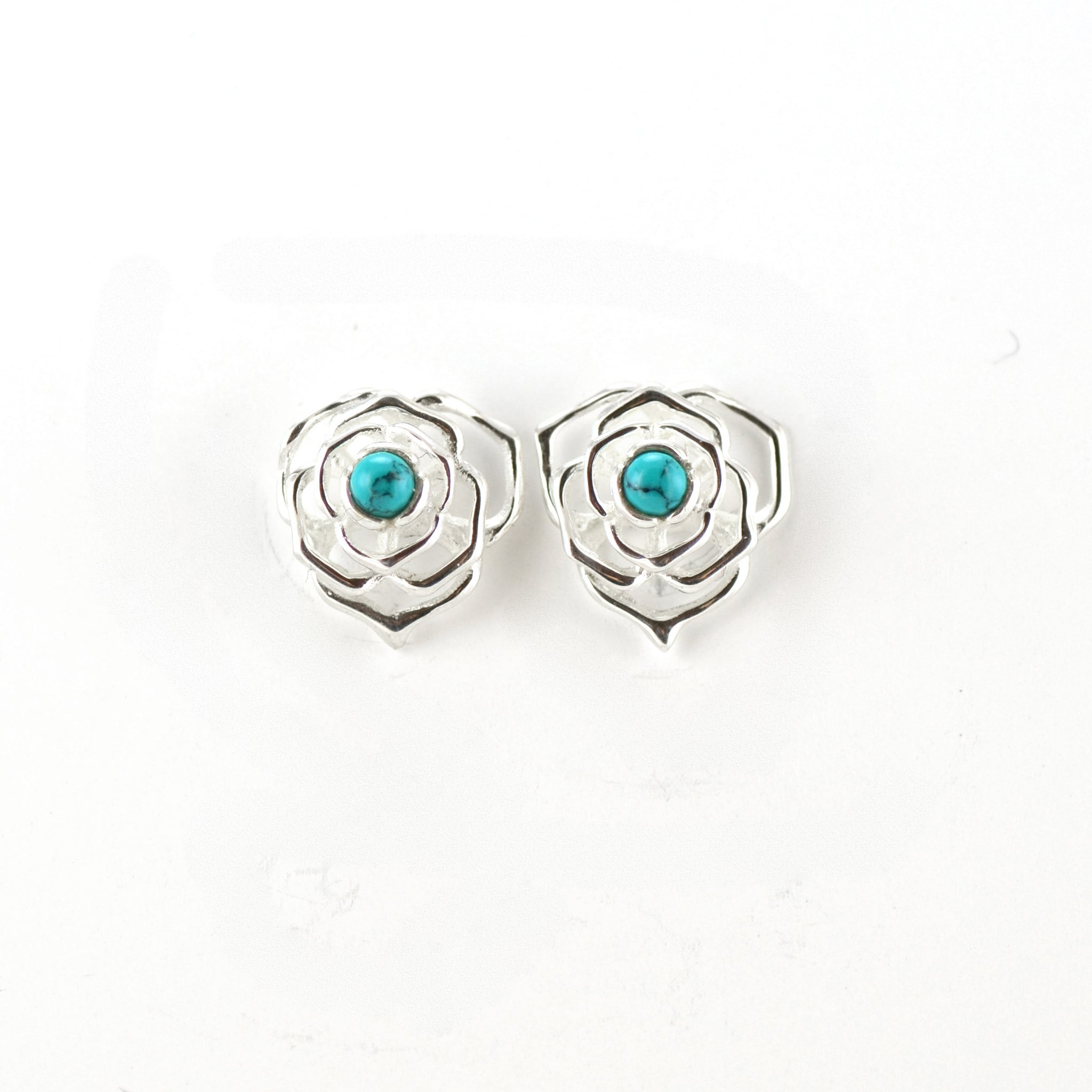 Silver Web Stud Earrings With Turquoise Peak