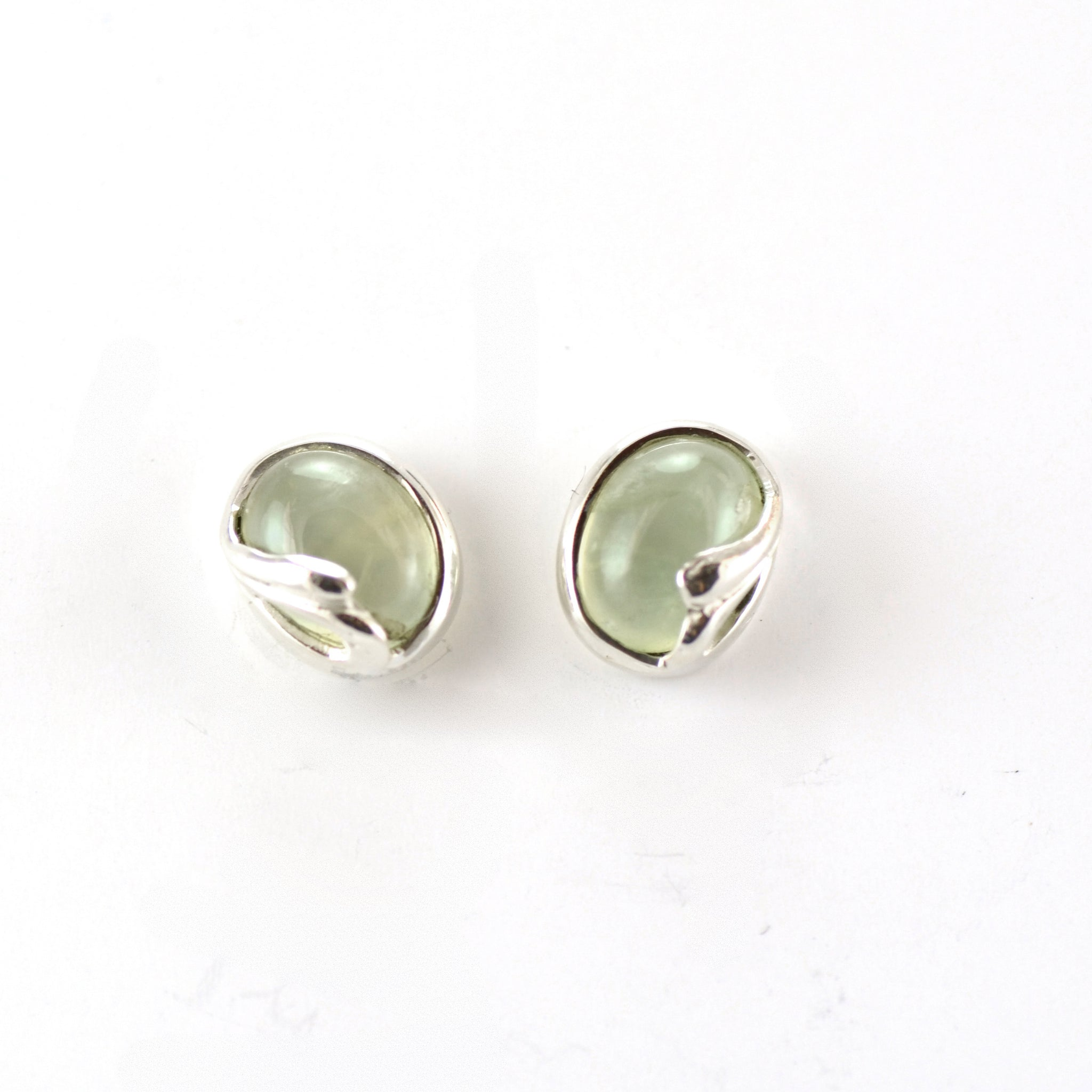 Peridot Stud Earrings With Silver Helmet