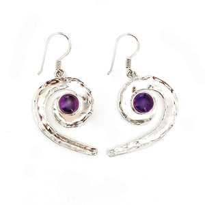 Drop Curl Amethyst Earrings