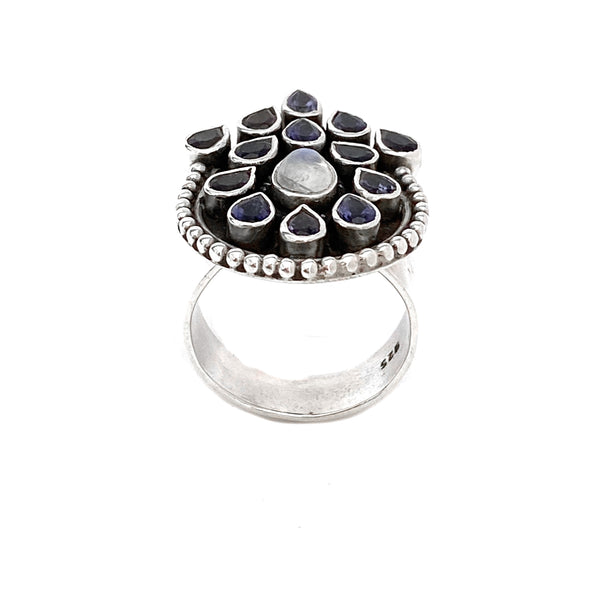 Iolite and Moonstone Peacock Ring