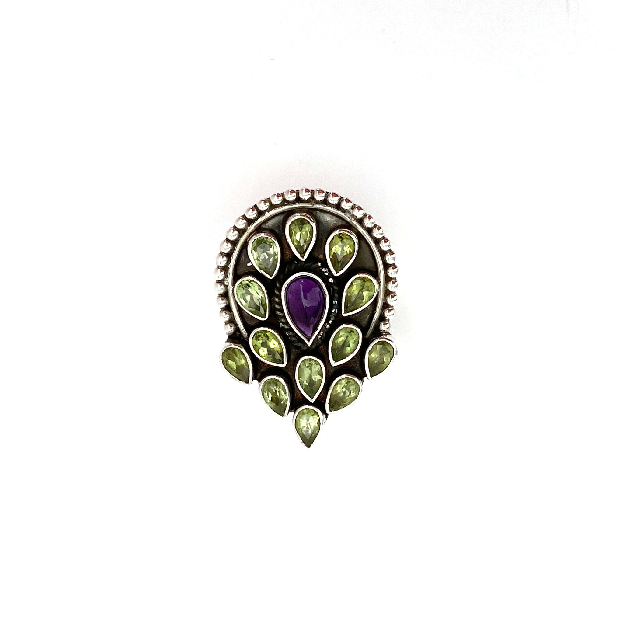 Peridot And Amethyst Peacock Ring