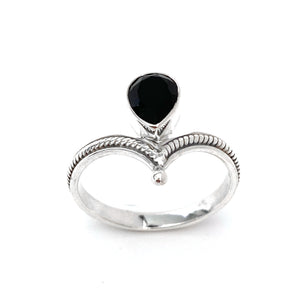 Silver Tiara With Onyx Ring