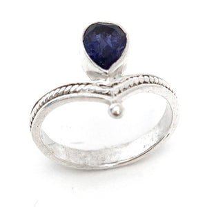 Silver Tiara With Iolite Ring