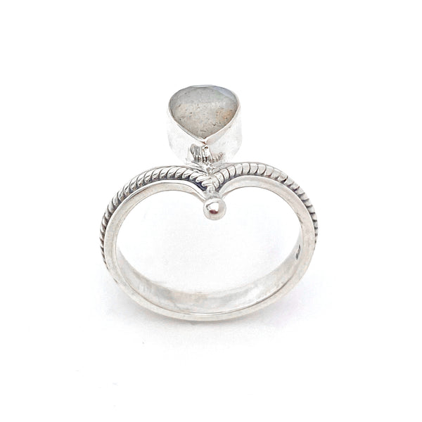 Silver Tiara With Labradorite Ring