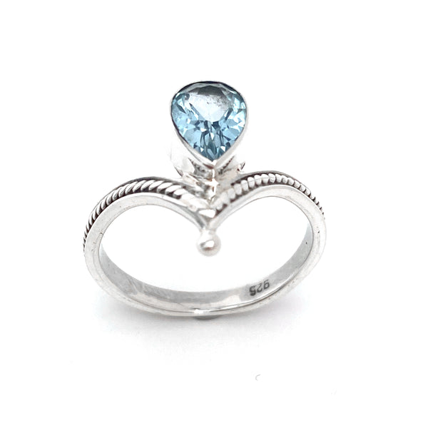 Silver Tiara With Blue Topaz Ring