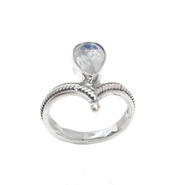 Silver Tiara With Moonstone Ring
