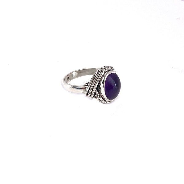 Rope Draped Amethyst Ring