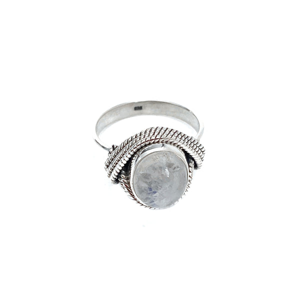 Rope Draped Moonstone Ring