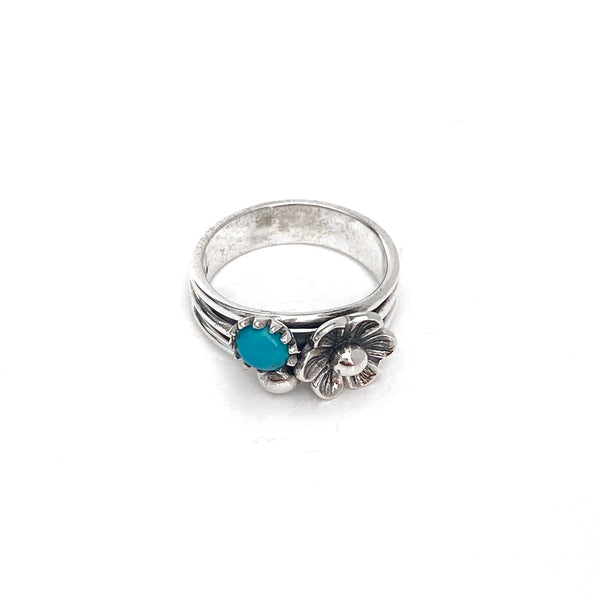 Turquoise Bouquet Silver Ring