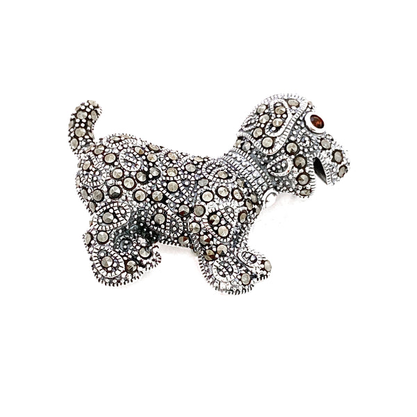 Marcasite Dog Brooch/Pendant