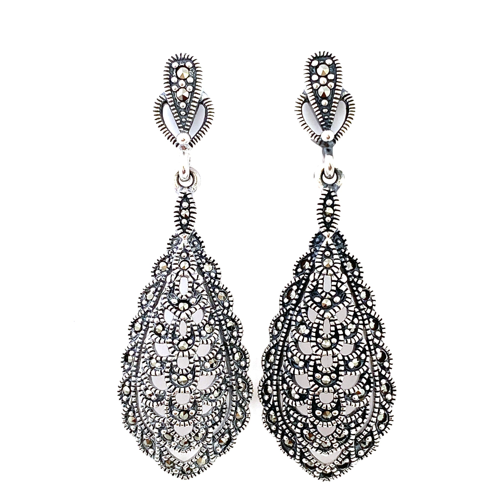 Graceful Victorian Teardrop Marcasite Stud Earrings