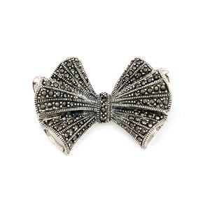 Vintage Silver Marcasite Bow Brooch