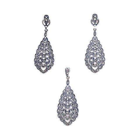 Graceful Victorian Teardrop Marcasite Set